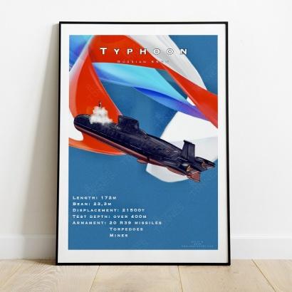 "Poster ""Typhoon"" class Russian submarine"