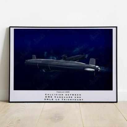 """Affiche Poster collision """"HMS Vanguard"""" et """"Le Triomphant"""""""