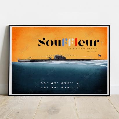 """Affiche Poster sous-marin """"Le Souffleur"""" Q116"""