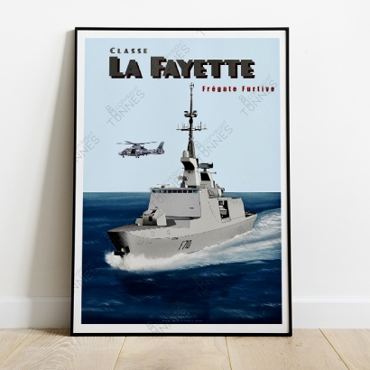 "Poster of the furtive french frigate "" La Fayette"""