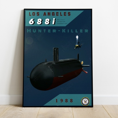 Affiche Poster sous-marin USS Los Angeles 688i