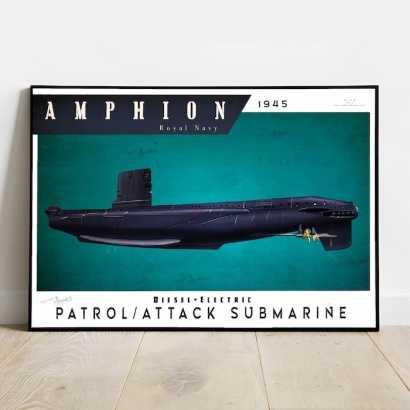 Poster submarine Amphion class Royal Navy