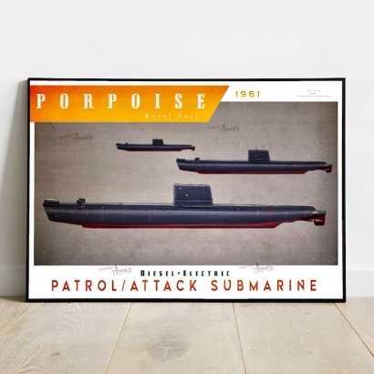 Poster submarine Porpoise class Royal Navy