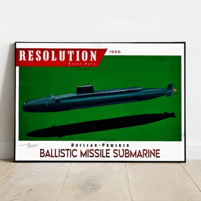 Poster submarine Resolution class Royal Navy
