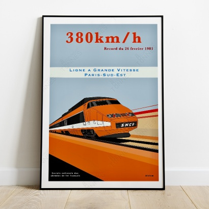 Poster T.G.V French hight speed train (World Record)