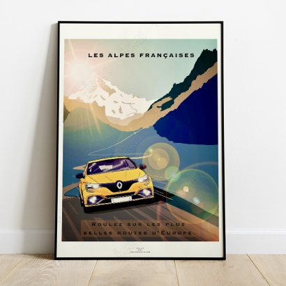 """Poster French Alps stunning roads """"Megane R.S."""""""