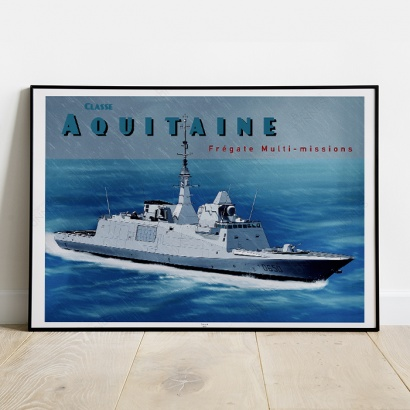 Poster of the furtive french frigate Aquitaine class (FREMM)