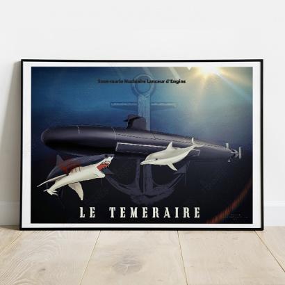 """Poster SSBN """"Le Téméraire"""" official tampion"""
