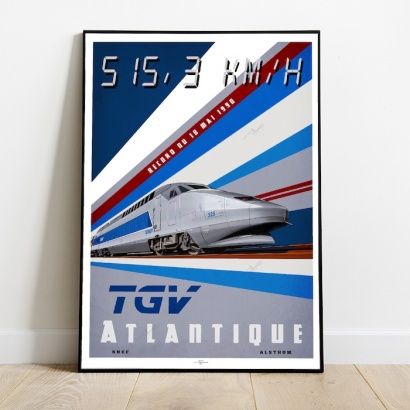 Poster T.G.V French hight speed train (1990 Record)