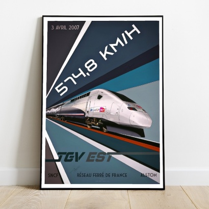 Poster T.G.V French hight speed train (2007 Record)