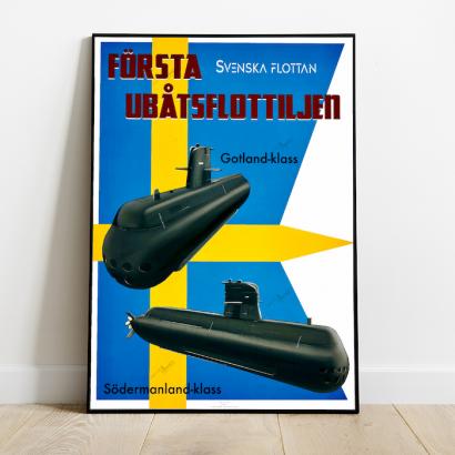 Affiche poster sous-marins Gotland et Sodermanland