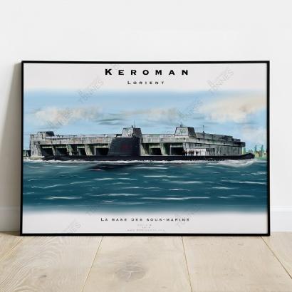 """Poster submarine """"Narval"""" Keroman Naval Base"""