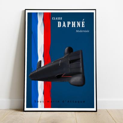 "Poster Vintage modernized ""Daphné"" class french submarine"