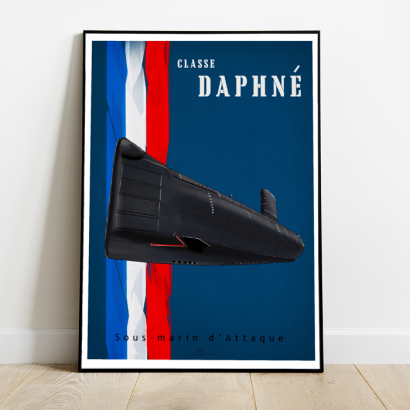 """Poster Vintage """"Daphné"""" class french submarine"""