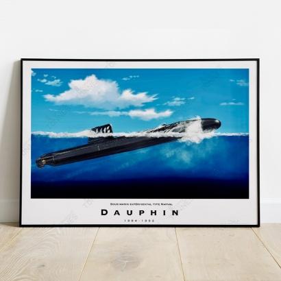 """Affiche Poster """"Dauphin"""" sous-marin expérimental"""