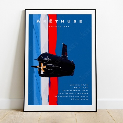 "Poster Vintage ""Arethuse"" 400 T. class french submarine"
